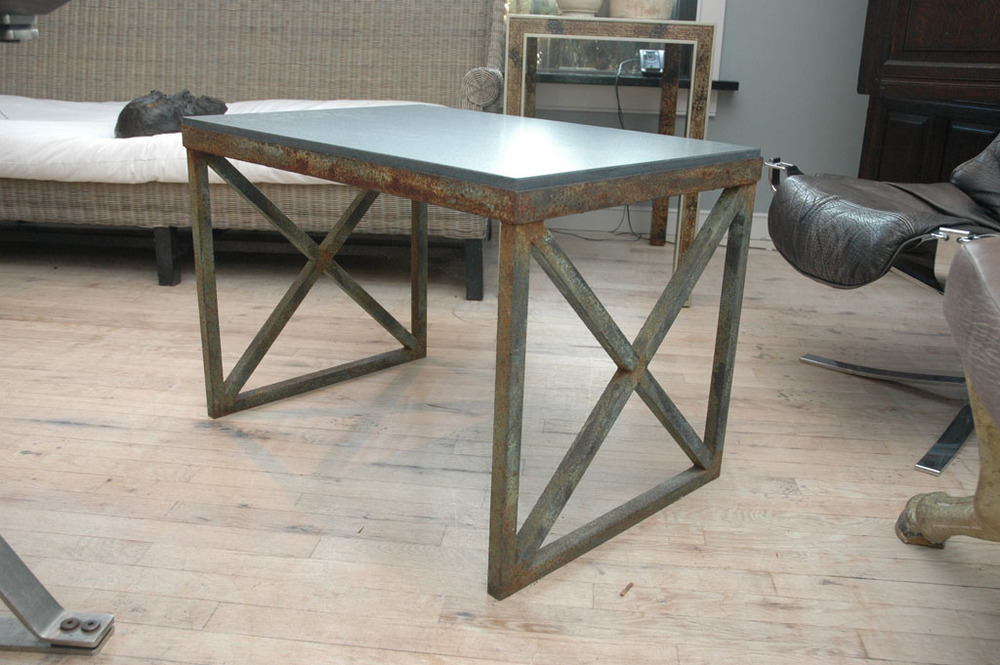 "X-Base Iron Table with Stone Top 30"" w.  x  21"" h.  x  20"" d.  $5,400"