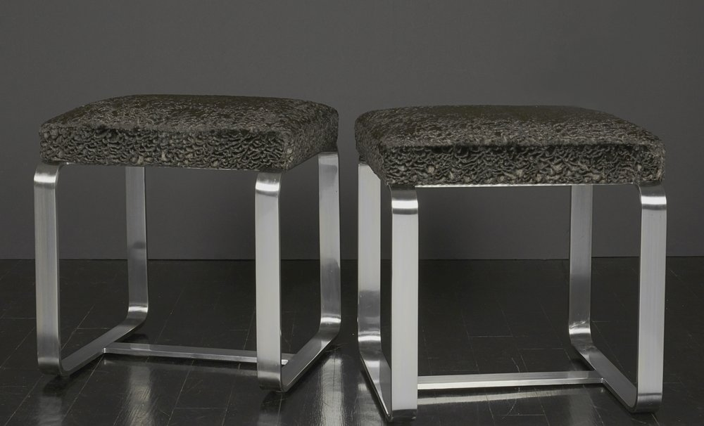 "Pair of Faux Fur Metal Stools   18"" h.  x   18"" w.  x  16"" d.  $6,400 pr."