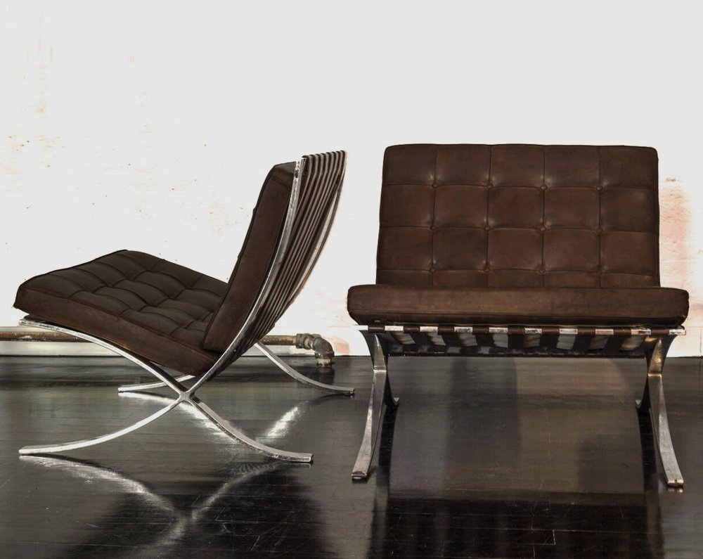 "Knoll Barcelona Chairs  30"" h. x 30""w. x 30""d. x 17"" seat  $22,000"