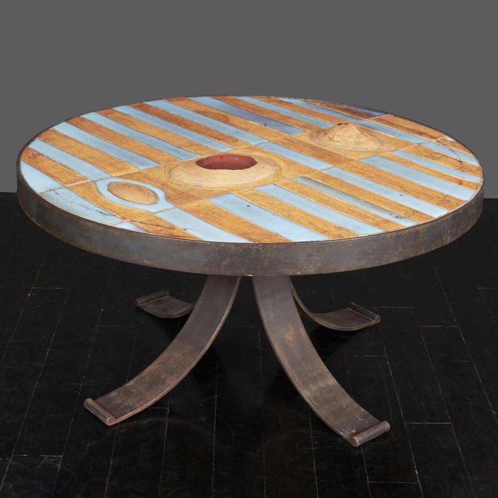"Pia Manu Style Ceramic Table 32"" dia. x 17"" h. $10,500"