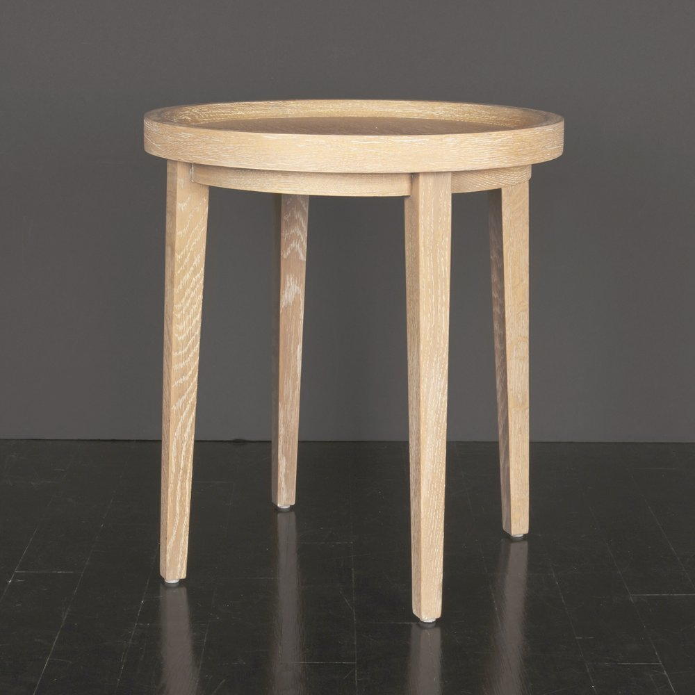 "Cerused Oak Side Table 22"" h.  x  20"" d.  $2,950"
