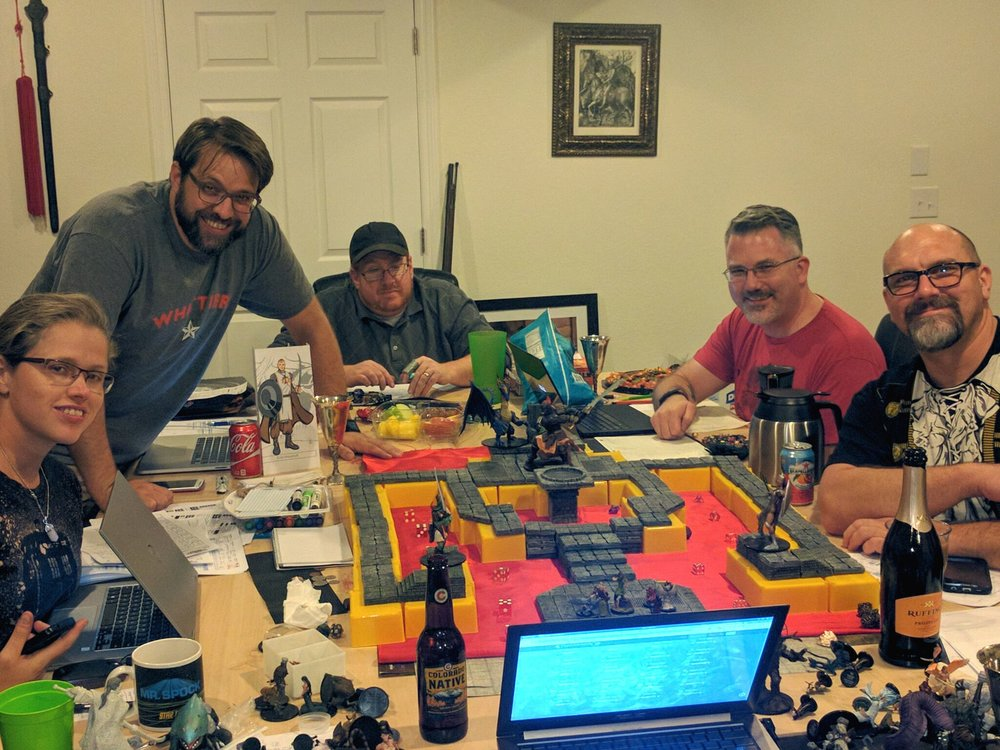 Our gaming group in its natural habitat as we wrap up Rise of the Runelords. From left to right: Monica, Morgan, Scott, Lee and Peter.