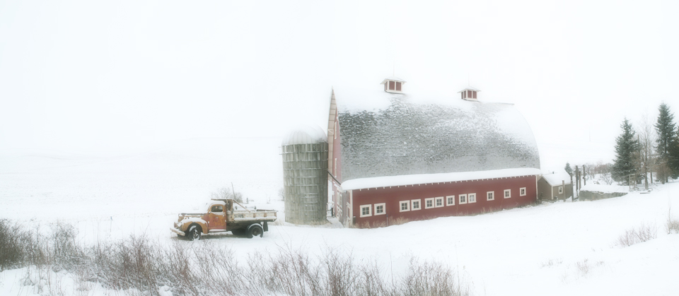 Old Truck and Barn in Winter II
