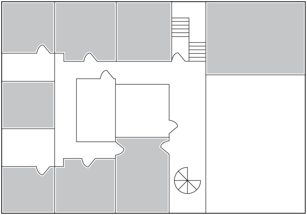 Upstairs floorplan with available office space.