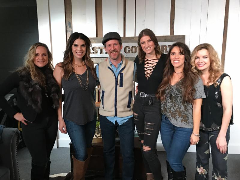 Pictured at the Facebook Live reveal in the Taste of Country studios are (l. to r.): Farewell Angelina's Nicole Witt and Lauren Lucas, Taste of Country's Billy Dukes and Ania Hammar, and Farewell Angelina's Lisa Torres and Andrea Young.