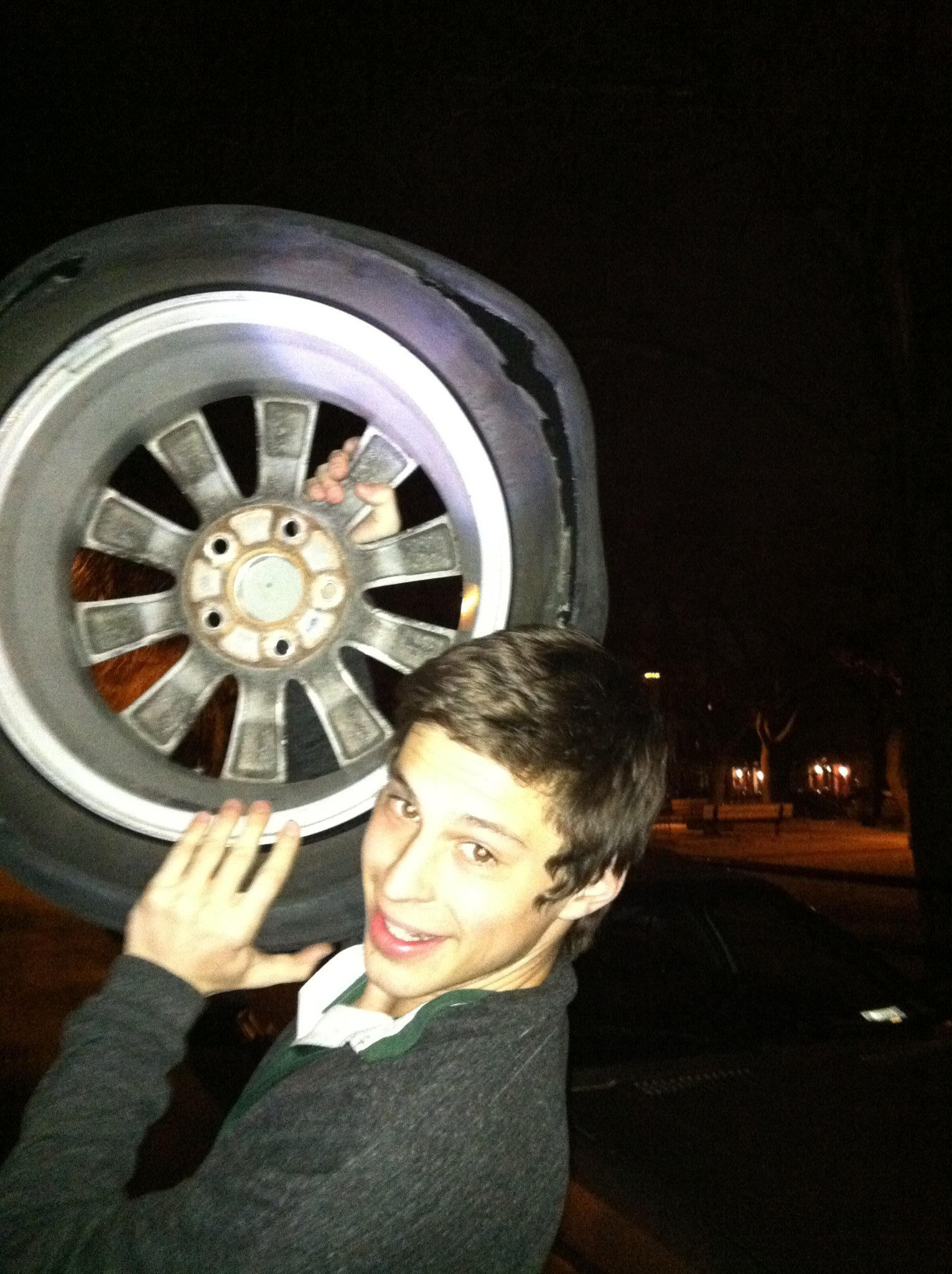 dave with destroyed tire