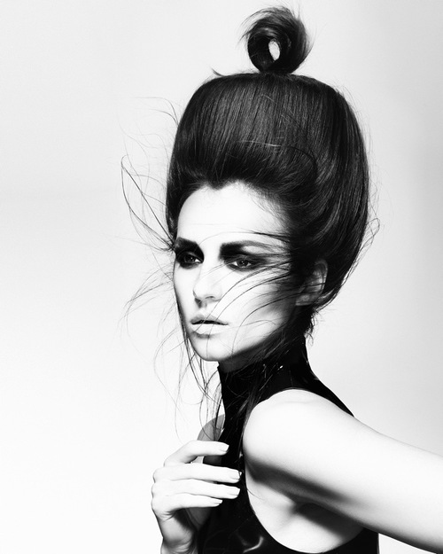 Brunette with topknot hair inspiration shot by jack eames