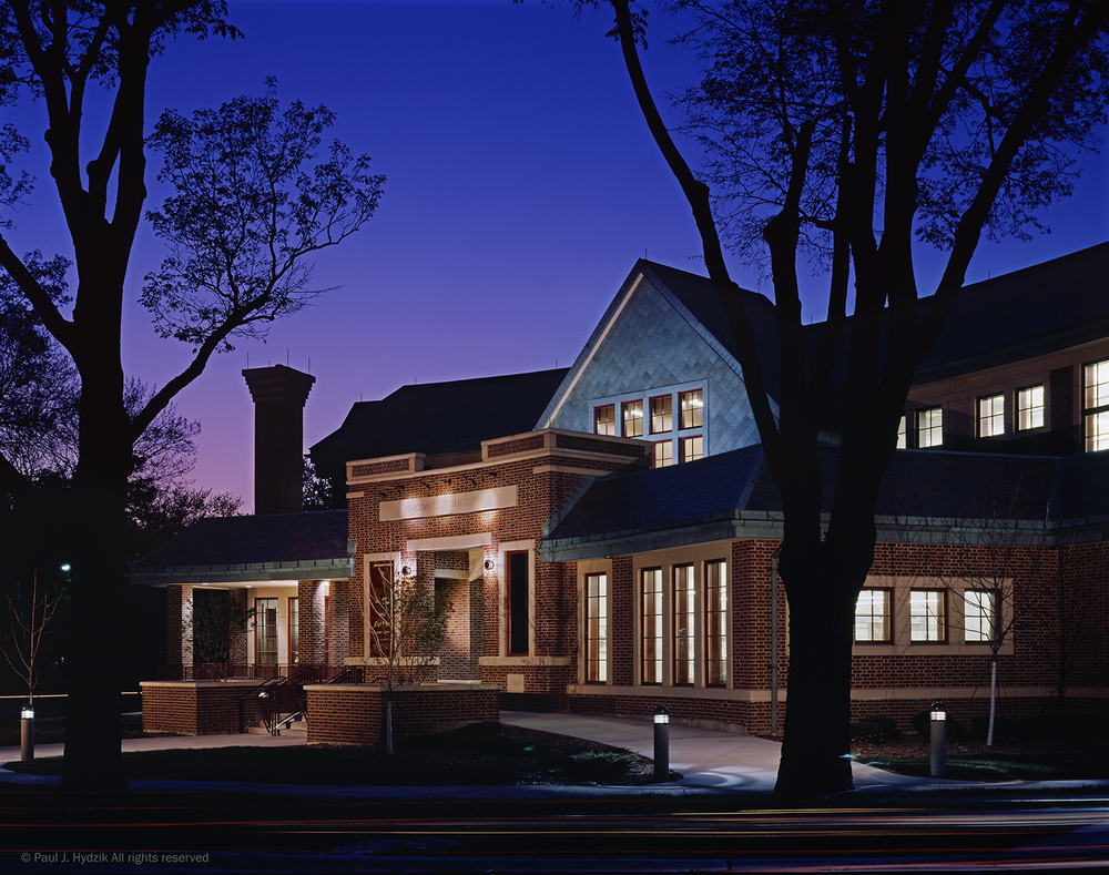 Flossmoor Public Library at Twilight