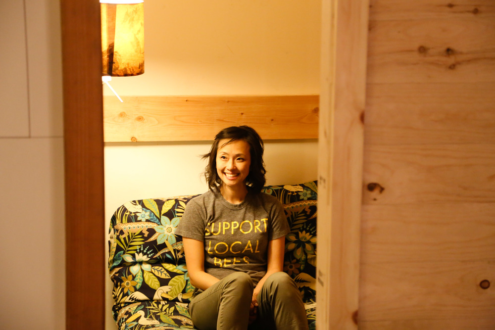Again, me with the testing. The sleeping nook is very comfortable. / Support local bees!