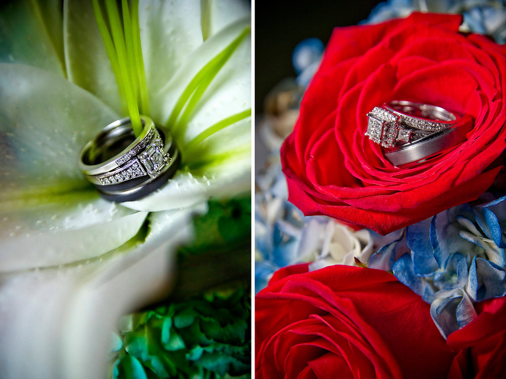 Missouri wedding photographers who love detail images like wedding rings in the bride's bouquet
