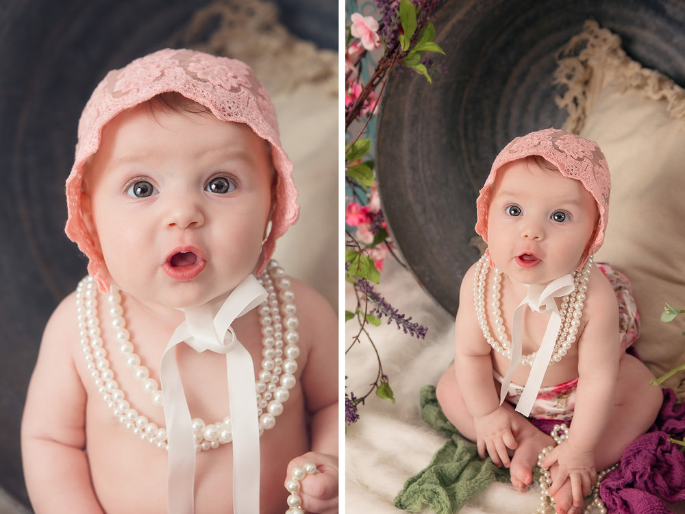 Six month old girl Spring photos from Harrison Arkansas with flowers, pearls, & bonnet - Springfield Missouri Professional Photography