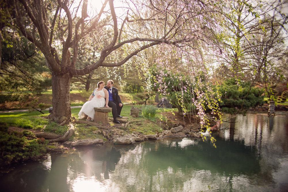 David & Tiffany sit below the cherry blossom tree next to the gorgeous koi pond at Mizumuto Japanese Stroll Garden, Springfield, Missouri.