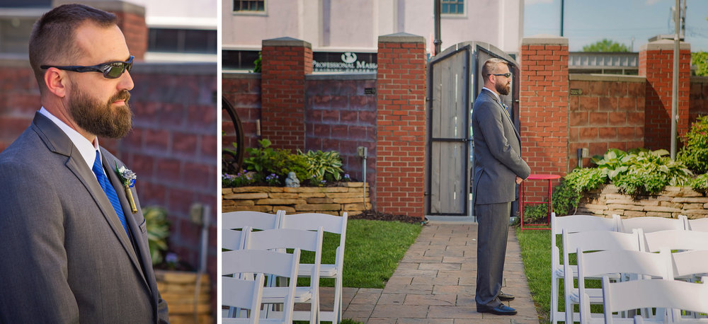 The groom, Jeff, waits patiently for his bride to appear during their first look before the wedding ceremony inside the Savoy's beautiful courtyard.
