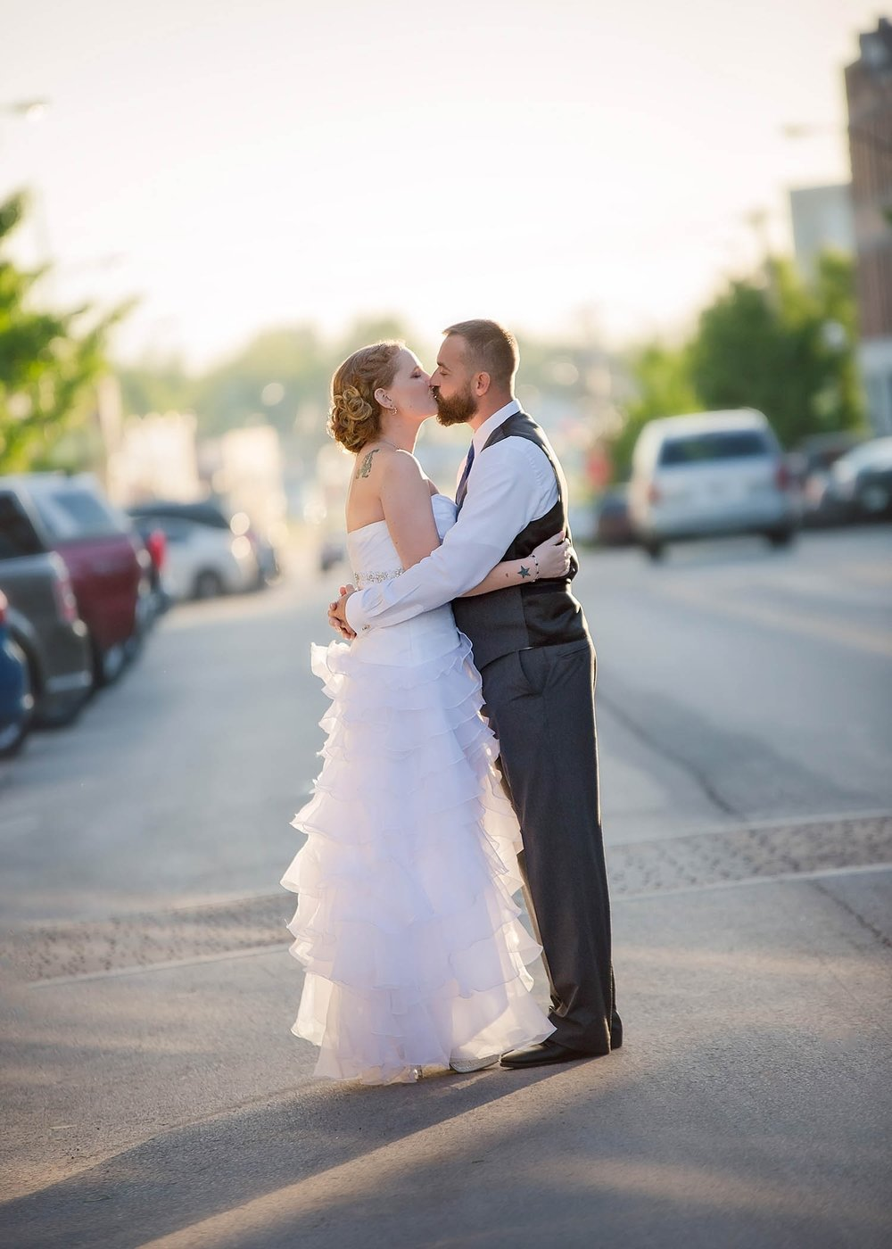 Historic Commercial Street in Springfield, MO has a lot to offer a couple on their wedding day. Sunsets here are particularly beautiful.