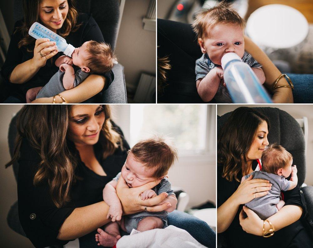 Newborn Baby Drinking A Bottle Seattle Photographer