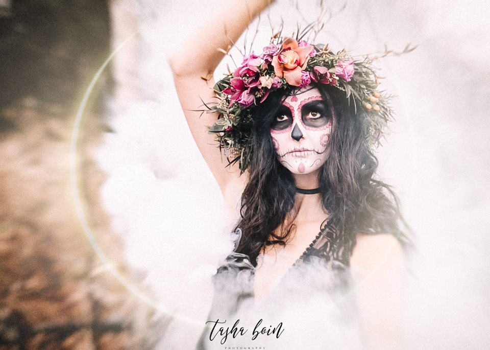 beautiful emotive photography halloween face paint flower crown tasha boin