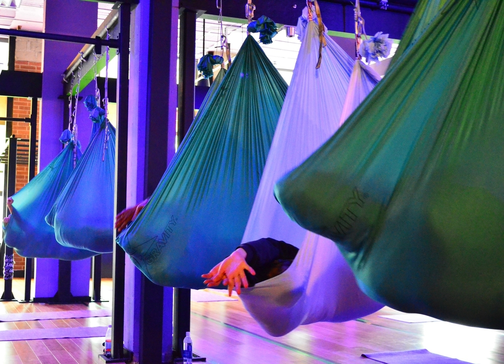 Relax and experience the calm of guided meditation class, while suspended in a floating silk hammock. Whether your boss is ticking you off, your kids are driving you crazy, or you are just on edge, this class will allow you to escape the pressures of daily life.
