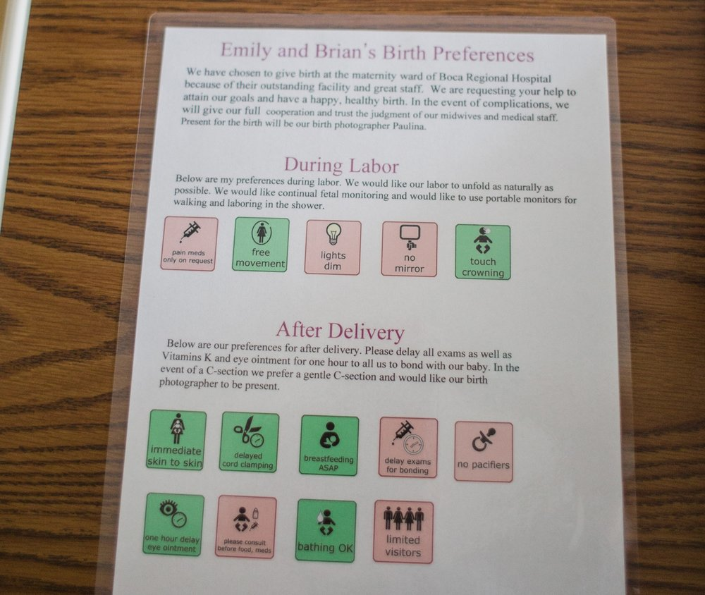 Birth Preferences List created by and printed by Lisa Raynor Doula... you can contact her here for a birth preferences consultation. http://coralspringsdoula.com