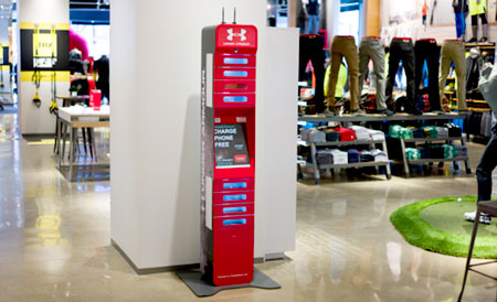 ChargeItSpot kiosk in UnderArmour store