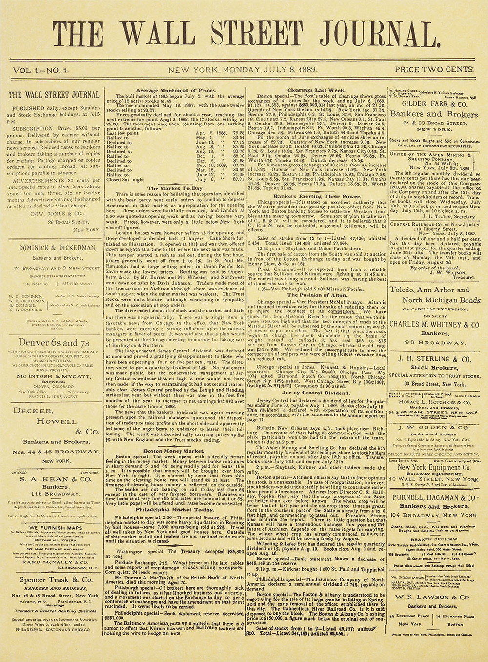 The Wall Street Journal - first edition, New York, Monday, July 8, 1889.  Click here to see the first edition in details .