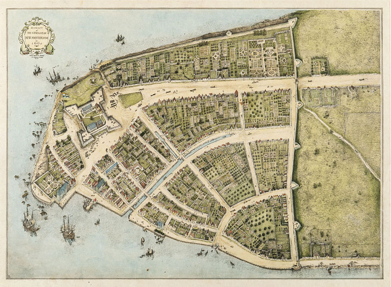Redraft of The Castello Plan (the bigger construction on the right), New Amsterdam, 1660