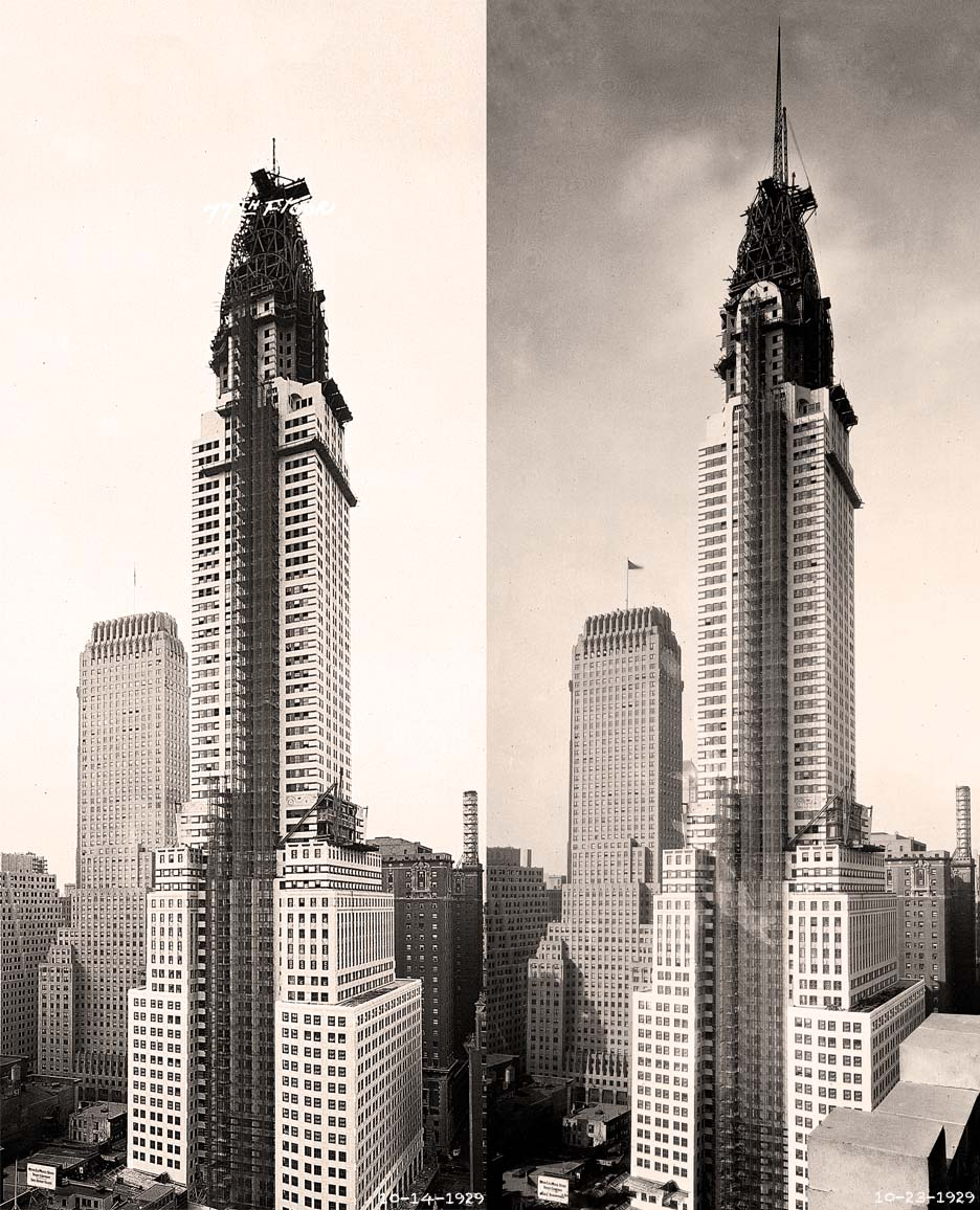 Left: Chrysler Building, October 14, 1929, Courtesy of David Stravitz; Right: Chrysler Building, October 23, 1929, Courtesy of David Stravitz