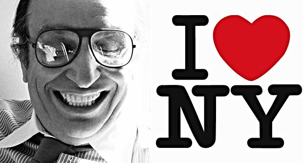 Milton Glaser photographed by Sam Haskins and the 'I Love NY' logo he designed
