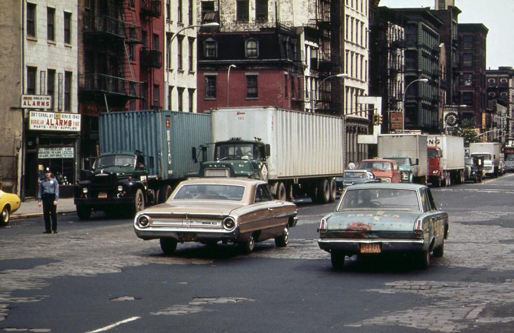 Holland Tunnel traffic, backed up on Canal Street, in May of 1973. Photo: Will Blanche/NARA. See this same spot today on  Google Street View .