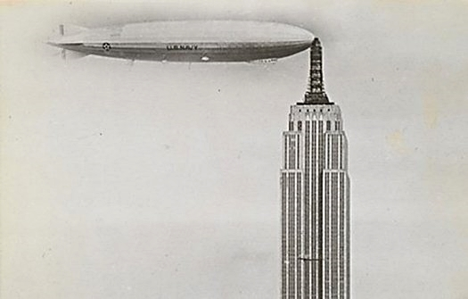 The famous photo of the dirigible Los Angeles docking at the Empire State Building is a fake, although there were vague plans for an airship station. (Image: Keith De Lelis Gallery)
