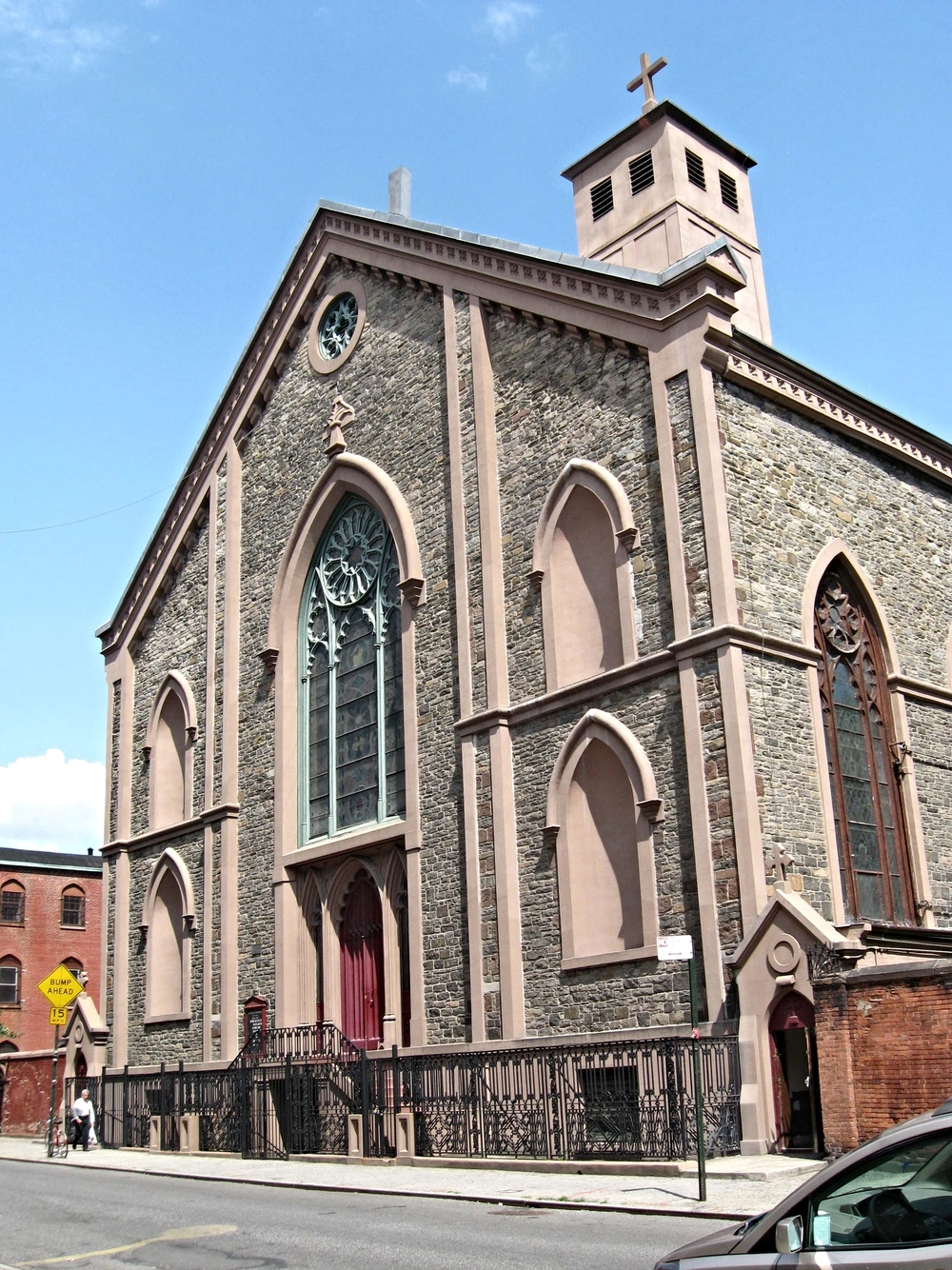 The Basilica of Saint Patrick's Old Cathedral, or Old St. Patrick's, is located at 260–264 Mulberry Street between Prince and Houston Streets in the Nolita neighborhood of Manhattan, New York City, with the primary entrance currently located on Mott Street.