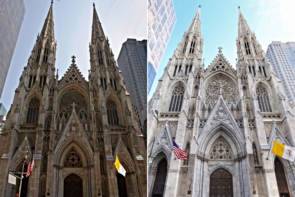 Decades of dirt (left) were washed away after St. Patrick's revealed its cleaned exterior on December 2014. And, yes, it also looks like they have washed away all the surrounding buildings : )  (Photo: Google)
