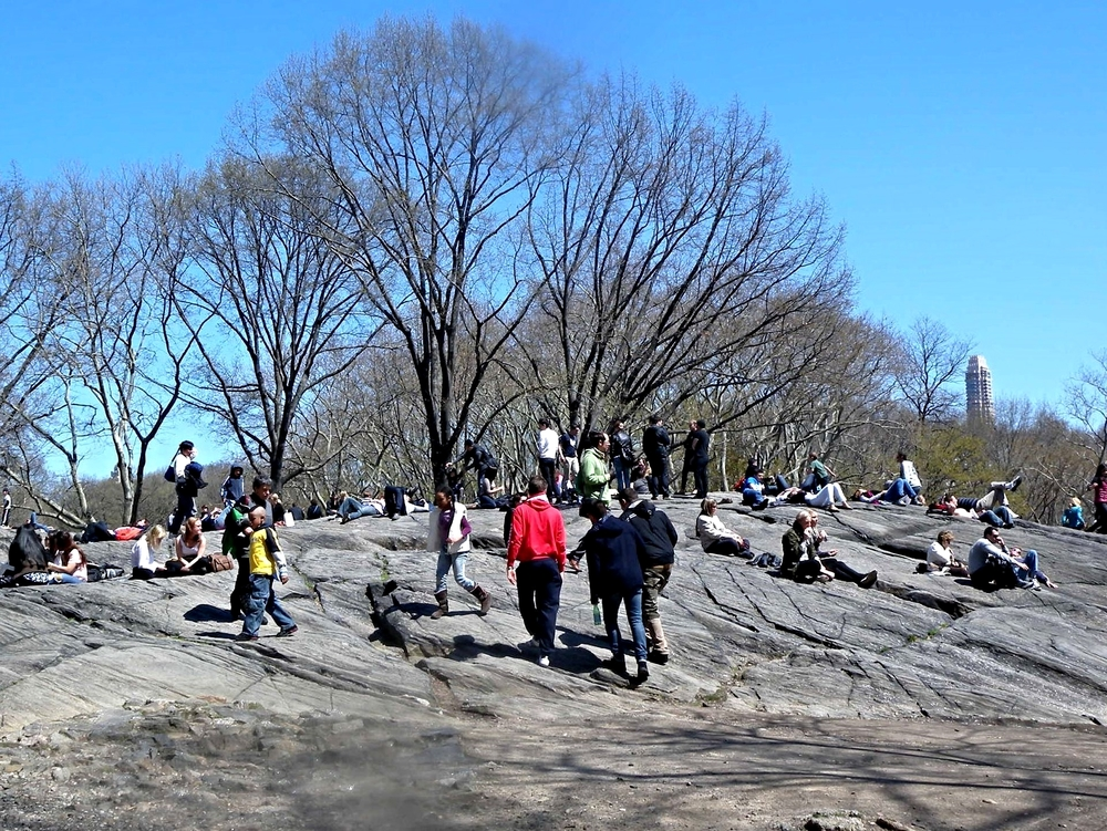 People hanging out at the top of Rat Rock