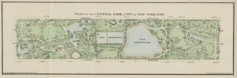 Calvert and Vaux's plan of Central Park from 1860, courtesy of the Museum of the City of New York