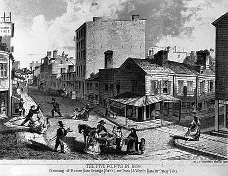 The Five Points in 1859, a roughly five-square-block area centered on the intersection of Cross Street (today's Park Street), Anthony Street (today's Worth), and Orange Street (today's Baxter)
