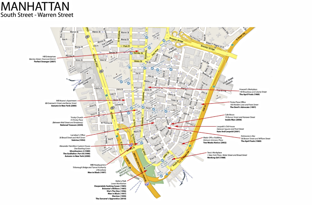 Film locations in Downtown Manhattan (Image: courtesy of  OntsoNY )