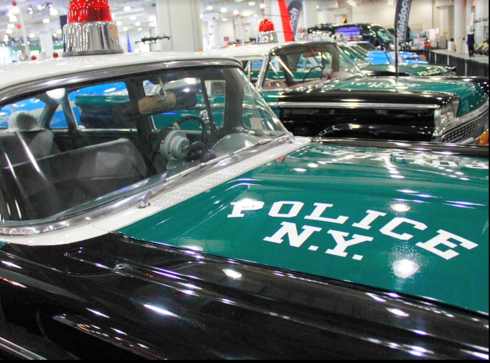 "1966 CHEVROLET BISCAYNE – The green and black color scheme was common for early NYPD cars. Green was the department's signature color, a reference to the green lights that members of ""the watch,"" the first police agency in the united five boroughs, used to keep outside their homes to show they were on guard."