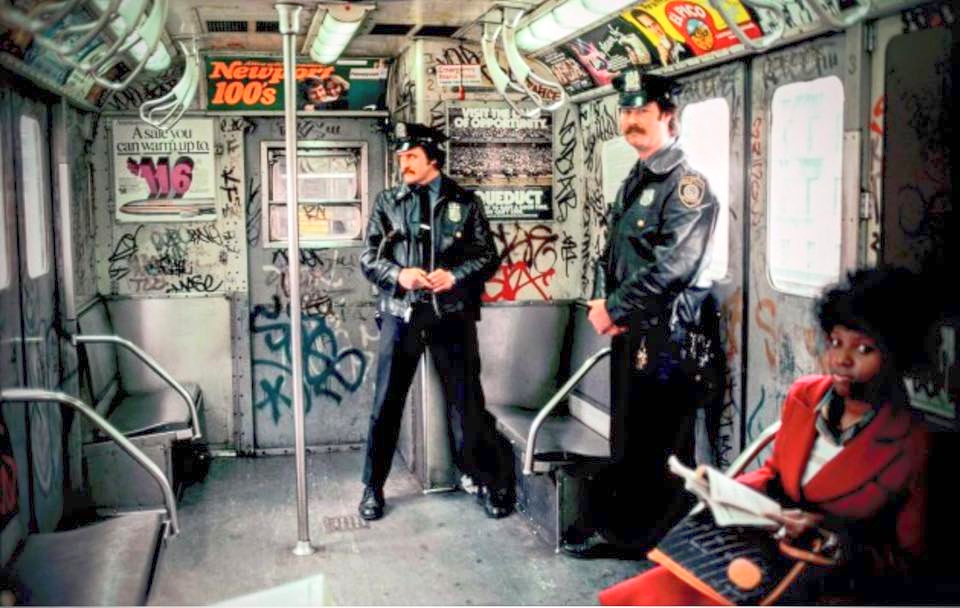 Golden age: The late 1970s and 80s signaled the beginnings of street art as we know it, with subways like this one in 1986 covered in tags by illicit painters.