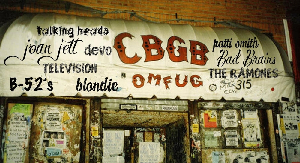 CBGB was a New York City music club opened in 1973 by Hilly Kristal in Manhattan's East Village. The club was previously a biker bar and before that was a dive bar. The letters CBGB were for country, bluegrass, and blues, Kristal's original vision, yet CBGB soon became a famed venue of punk rock and new wave bands. From the early 1980s onward, CBGB was known for hardcore punk. Some of the bands performed at CBGB: the Ramones, Television, Patti Smith Group, Blondie, Talking Heads, and B-52s.    Click here to see the same exact location of former CBGB, now a high-end fashion store that kept the CBGB's soul and atmosphere intact.