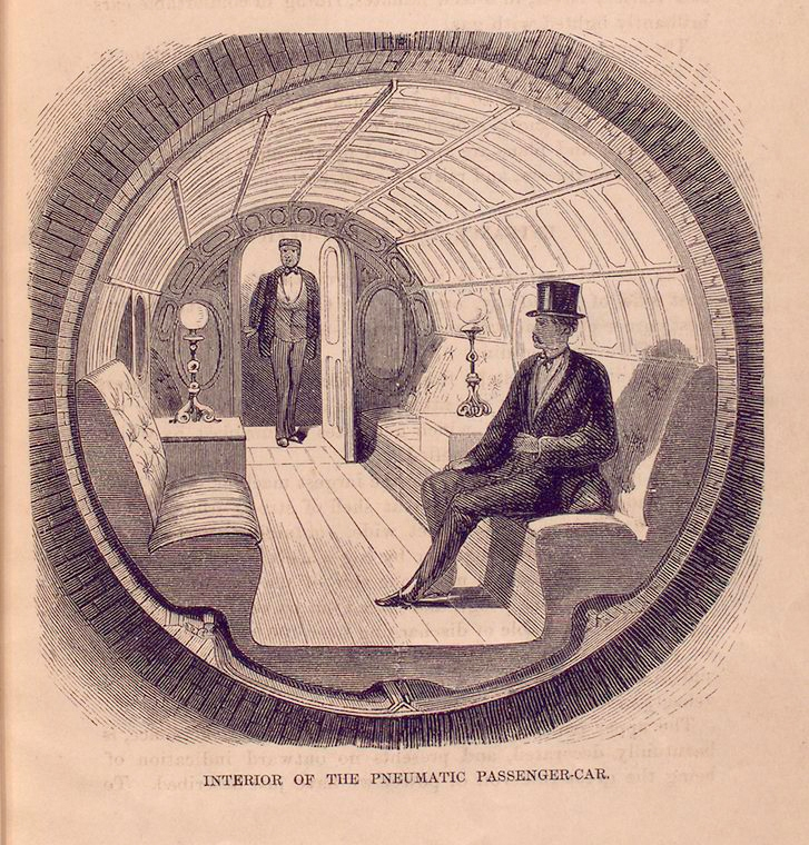 In the 1870s, NYC briefly experimented with underground pneumatic transport. That was the Beach Pneumatic Transit, invented by Alfred Ely Beach (1826-1896),an American inventor,publisher, and patent lawyer,