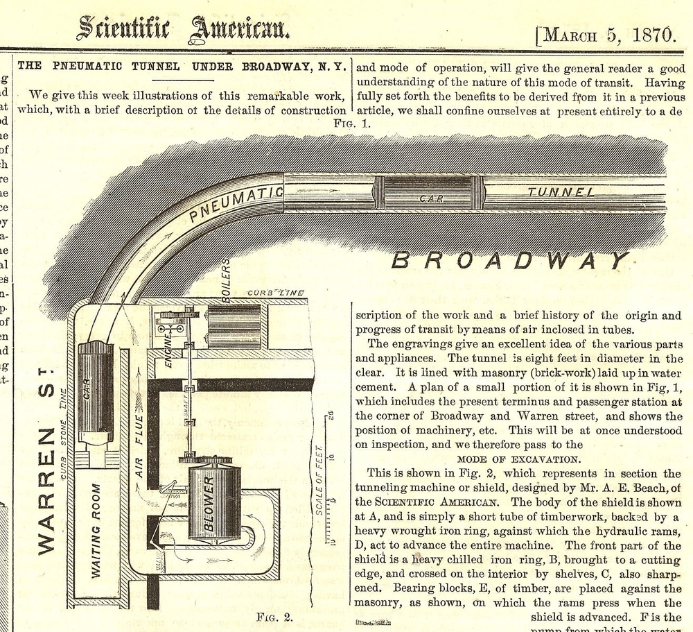 Alfred Ely Beach original Pneumatic Plan (Image: Wikipedia Commons)