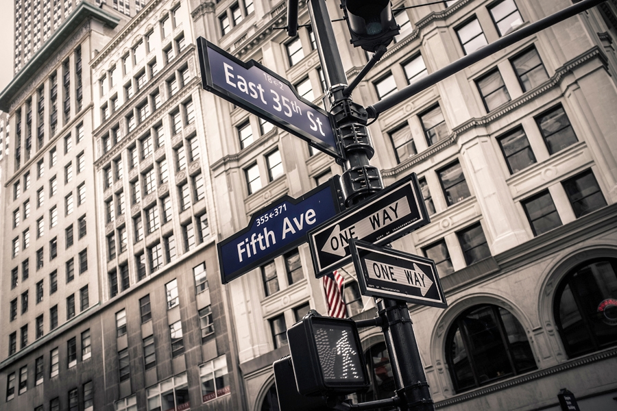Fifth Avenue separates, for example, East 35th Street from West 35th Street.