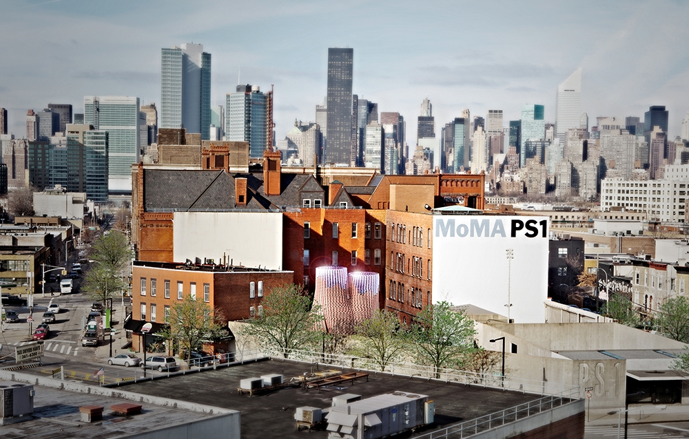 MoMA PS1, in Long Island City, and Manhattan skyline
