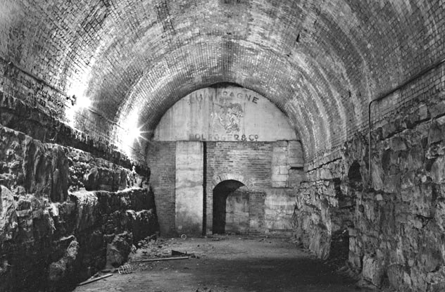 Champagne cellars hidden inside the Brooklyn Bridge. Photo credit:Stanley Greenberg