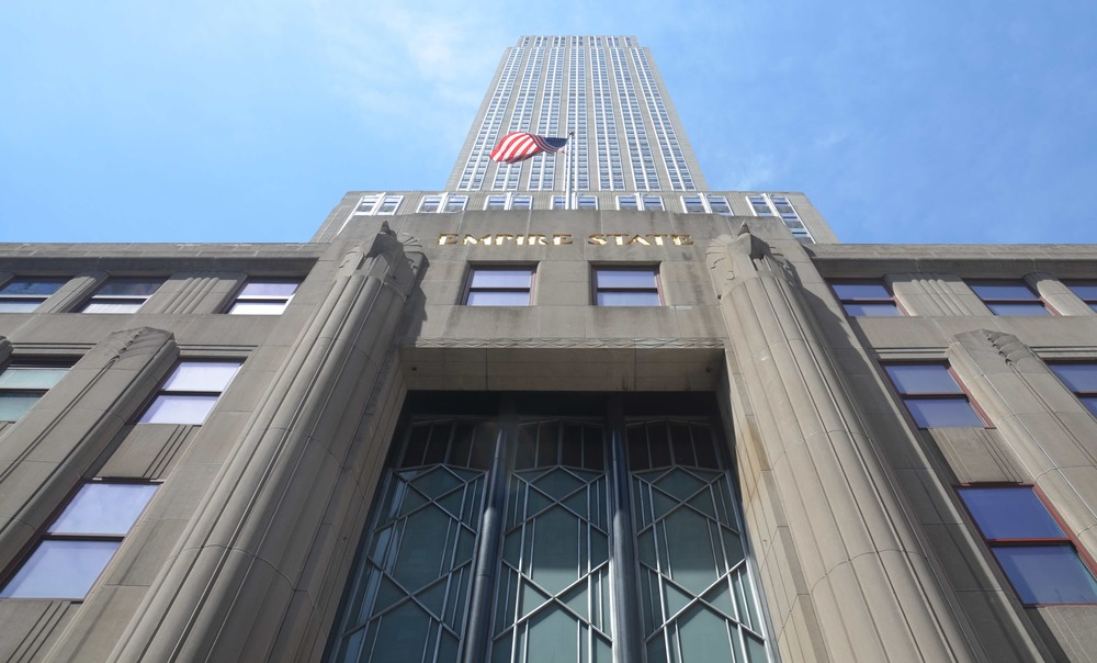 The entrance of the    Empire State Building