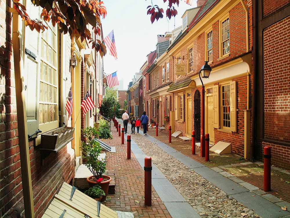 Cobblestone streets in Old City, one of America's most authentically colonial neighborhoods still thriving