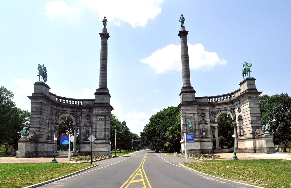 The Smith Memorial Arch is located off of South Concourse Street/Lansdowne Drive