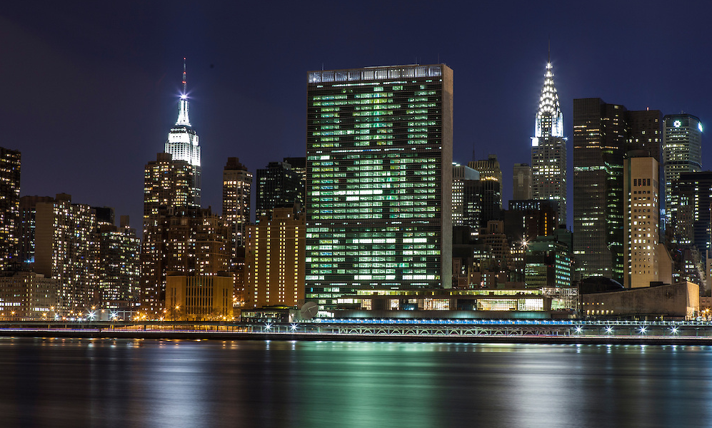 The United Nations Building (center), the Empire State Building (left), and Chrysler Building (right).