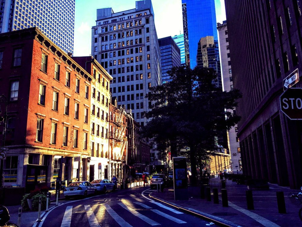 In lower Manhattan, Pearl Street, on our way to Battery Parking Garage, where the lights were placed.