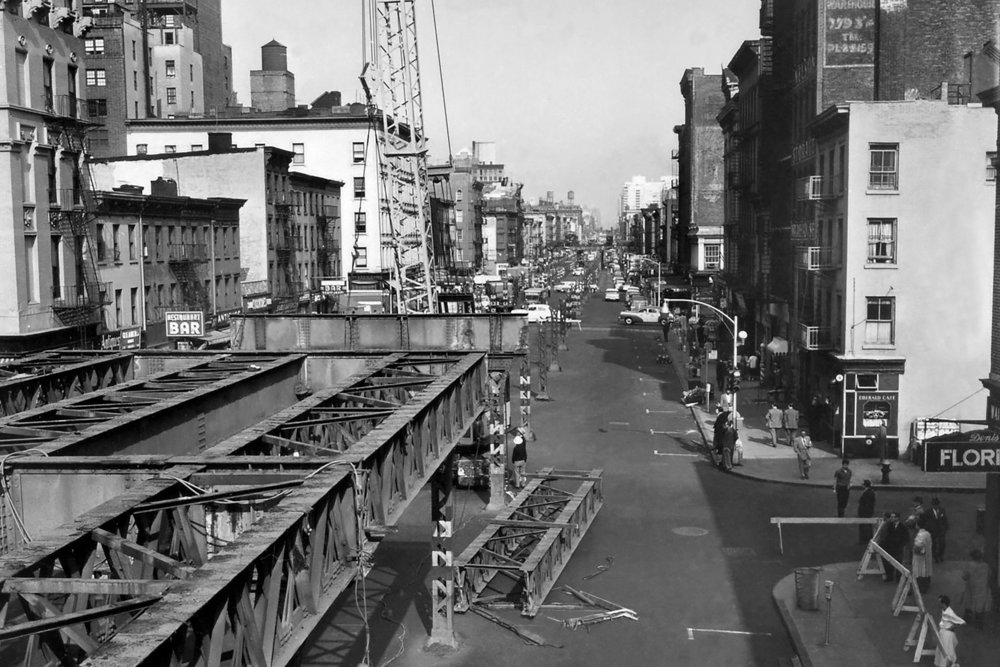 The  Third Avenue elevated line  was removed in the 1950s (Image: SAM FLAK/THE NEW YORK TIMES )