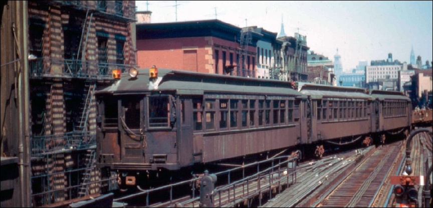 3rd Avenue El at Canal Street in Manhattan, had service from Chatham Square north. (Image: Frank Pfuhler, May 1955)